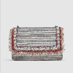 Zara White Fabric Crossbody Clutch